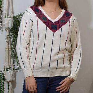 Cream sweater with maroon green and navy detail